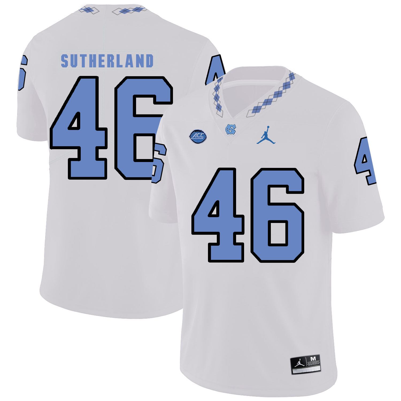 North Carolina Tar Heels #46 Bill Sutherland Football Jersey White