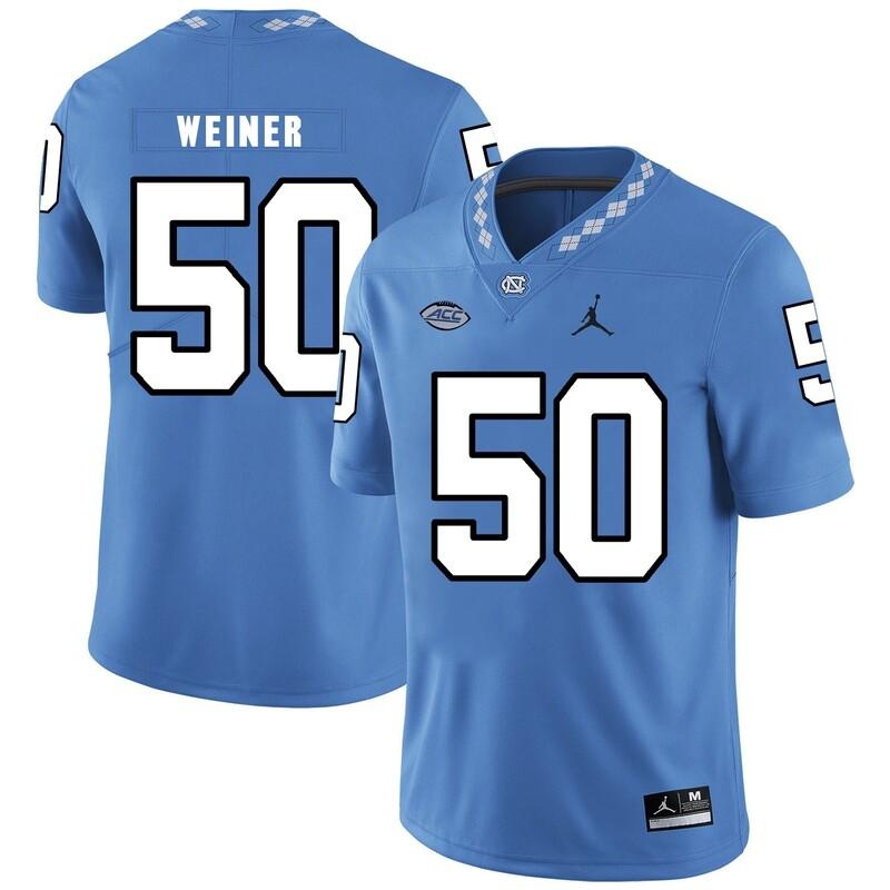 North Carolina Tar Heels #50 Art Weiner Football Jersey Blue