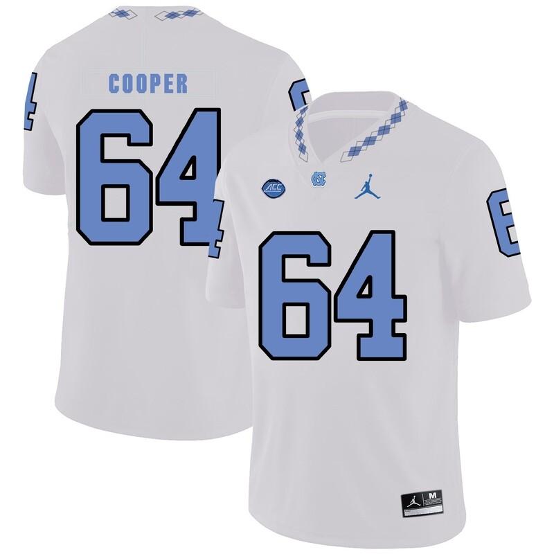 North Carolina Tar Heels #64 Jonathan Cooper Football Jersey White