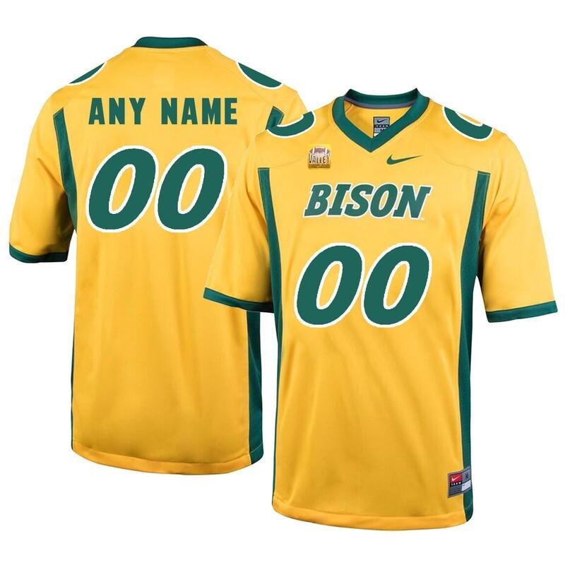 North Dakota State Bison Custom Name Number Football Jersey Yellow