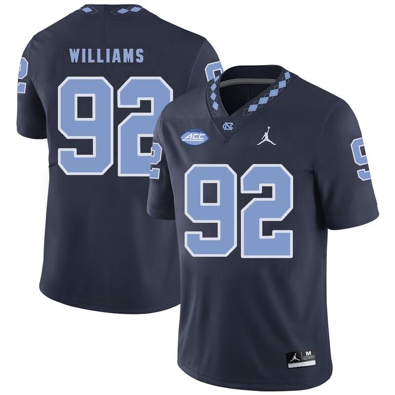 North Carolina Tar Heels #92 Sylvester Williams Football Jersey Navy