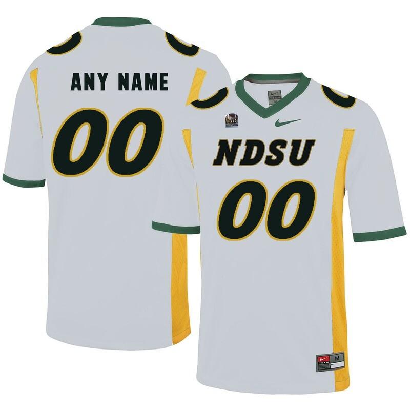 North Dakota State Bison Custom Name Number Football Jersey White