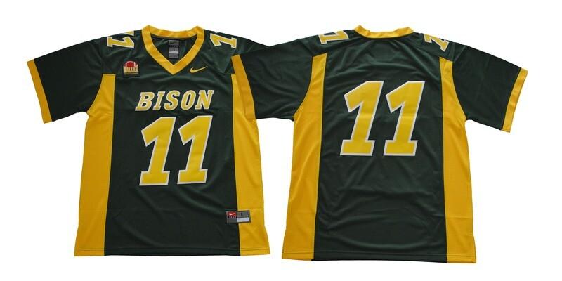 North Dakota State Bison #11 Carson Wentz Football Jersey Green