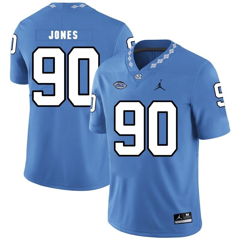 North Carolina Tar Heels #90 Nazair Jones NCAA Football Jersey Blue