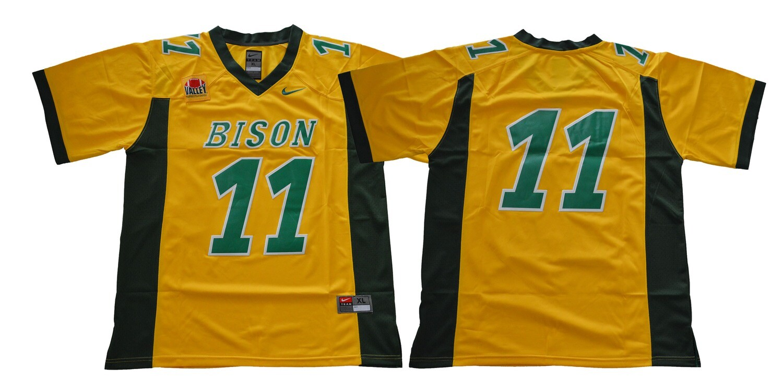 North Dakota State Bison #11 Carson Wentz Football Jersey Yellow