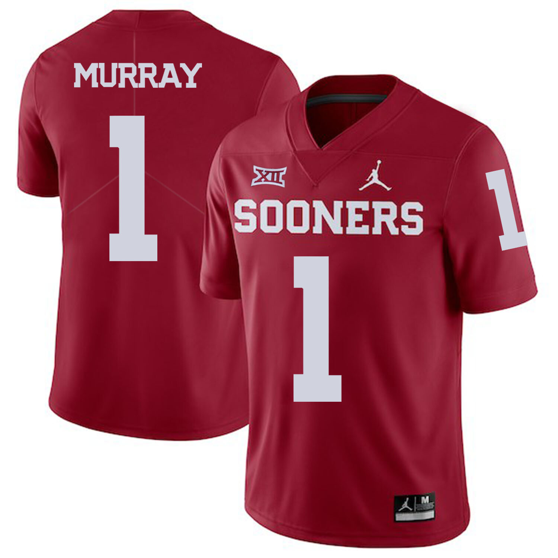 Oklahoma Sooners #1 Kyler Murray Football Jersey Dard Red