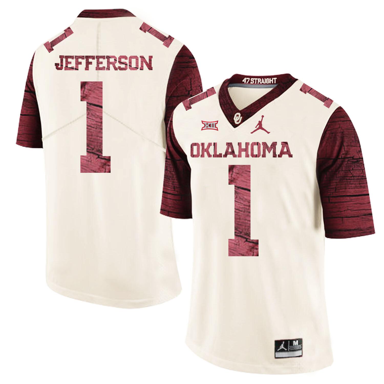 Oklahoma Sooners #1 Tony Jefferson Football Jersey Wood Pattern White