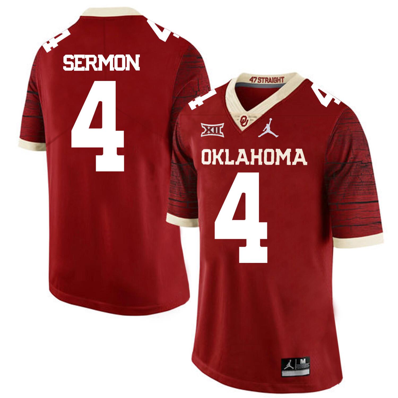 Oklahoma Sooners #4 Trey Sermon Football Jersey Chai Pattern Red