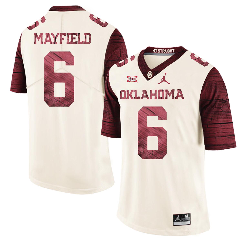Oklahoma Sooners #6 Baker Mayfield Football Jersey Firewood Pattern White