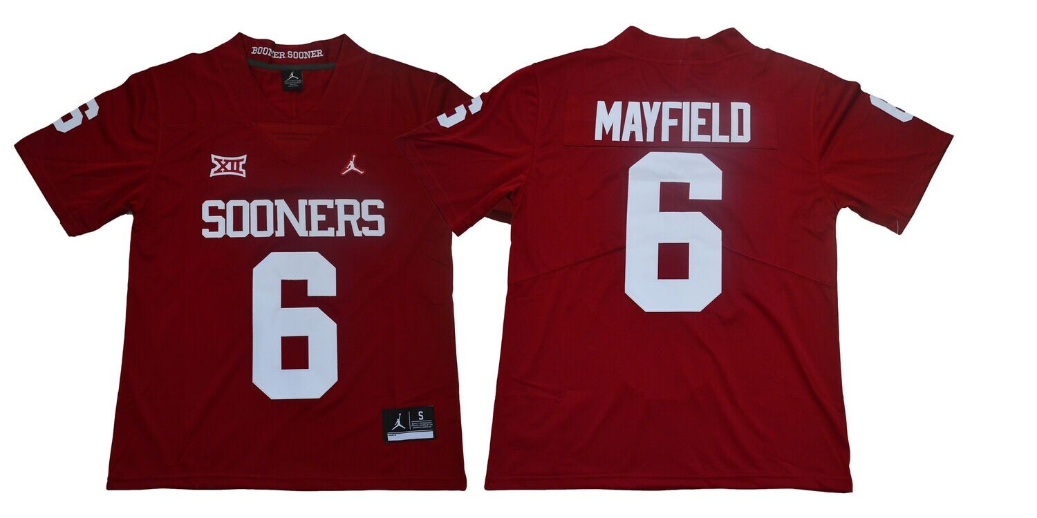 Oklahoma Sooners #6 Baker Mayfield Football Jersey Legendary Red XII Patch