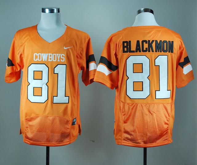 Oklahoma State Cowboys #81 Justin Blackmon Football Jersey Orange