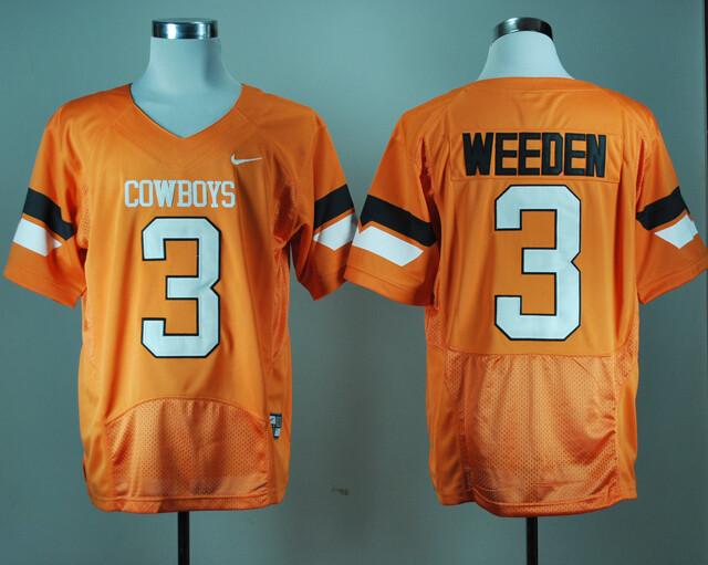Oklahoma State Cowboys #3 Brandon Weeden NCAA Football Jersey Orange