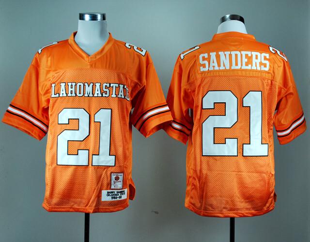 Oklahoma State Cowboys #21 Barry Sanders Football Jersey Orange
