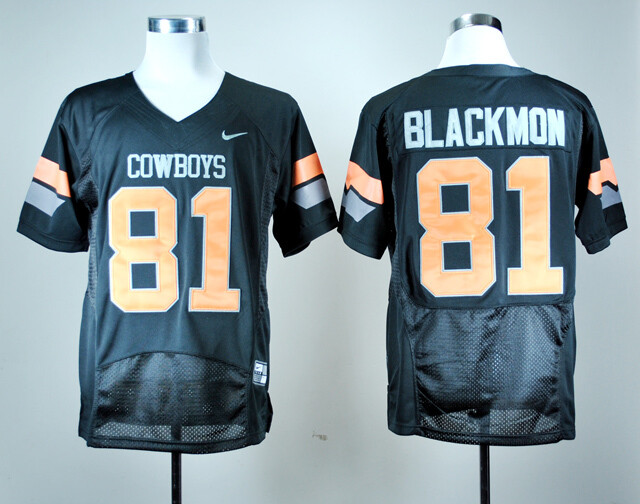 Oklahoma State Cowboys #81 Justin Blackmon Football Jersey Black