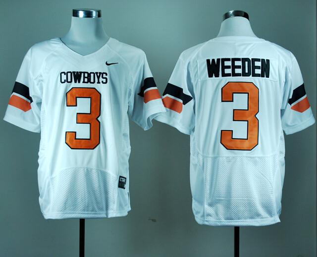 Oklahoma State Cowboys #3 Brandon Weeden NCAA Football Jersey White