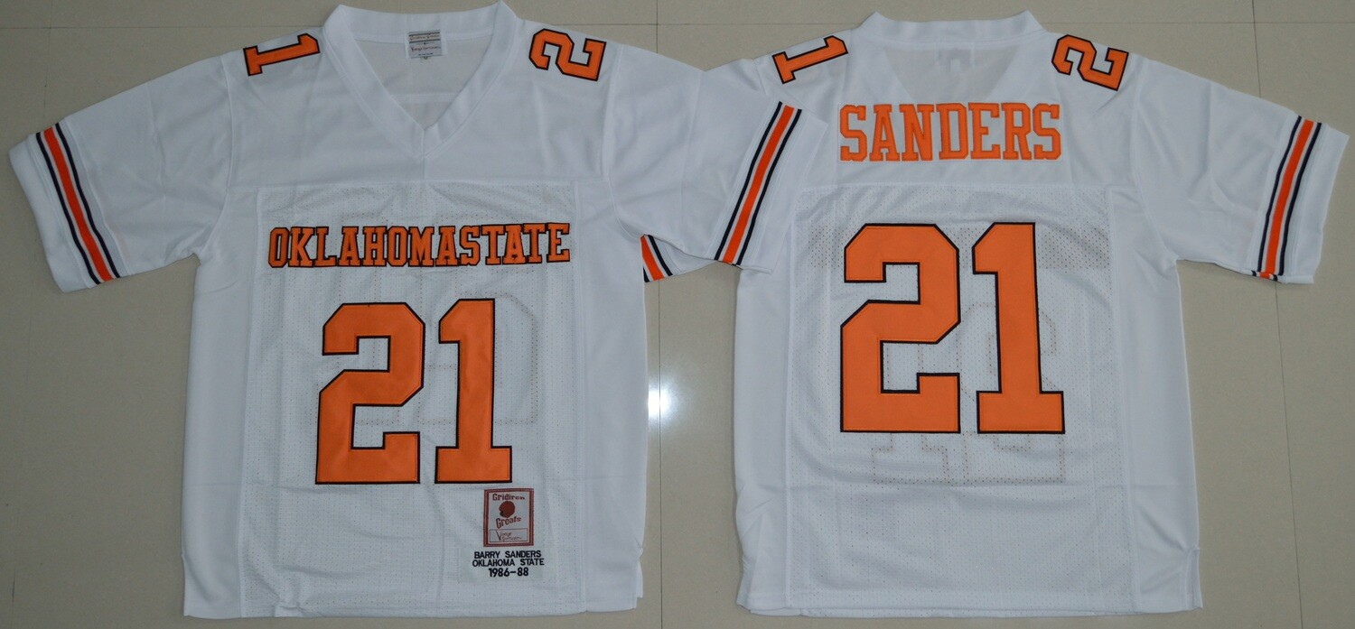 Oklahoma State Cowboys #21 Barry Sanders Football Jersey White and Orange