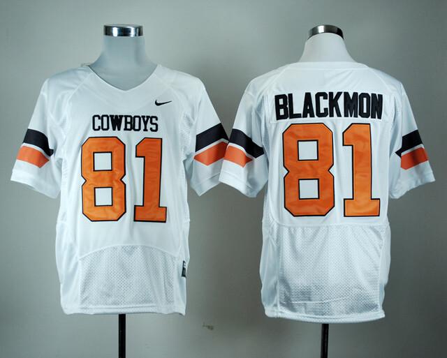 Oklahoma State Cowboys #81 Justin Blackmon Football Jersey White