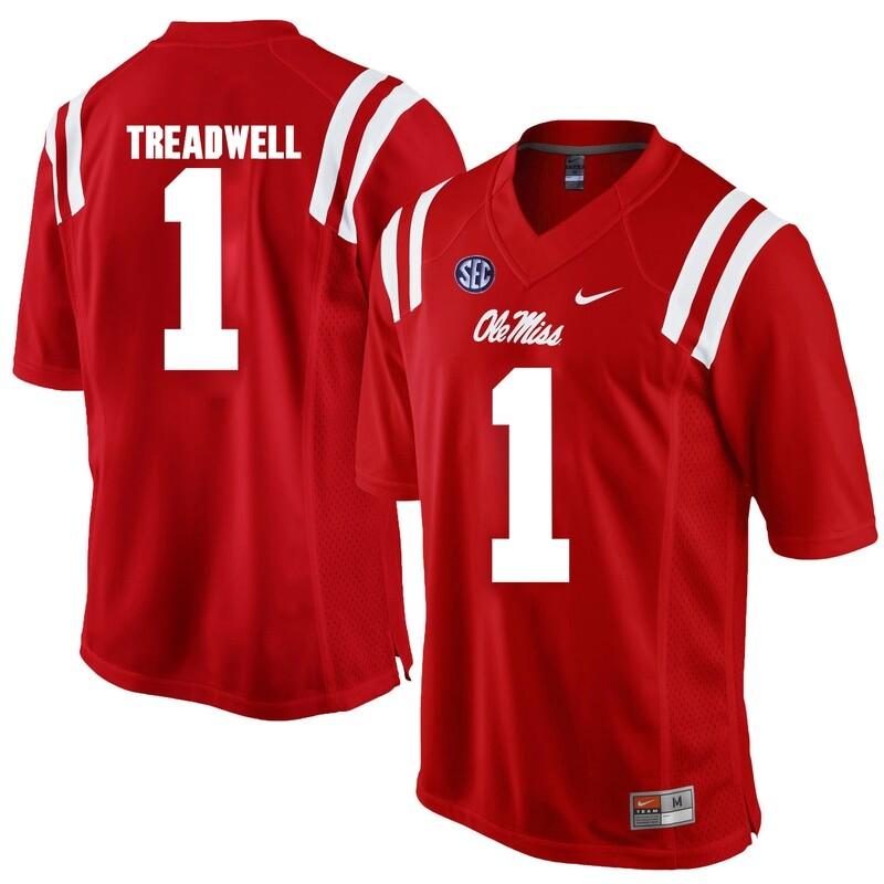 Ole Miss Rebels #1 Laquaon Treadwell NCAA Football Jersey Red
