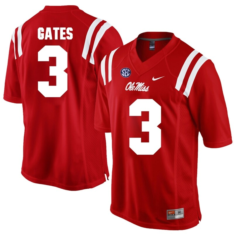 Ole Miss Rebels #3 DeMarquis Gates NCAA College Football Jersey Red