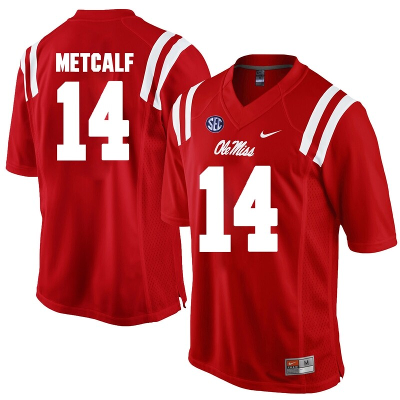 Ole Miss Rebels #14 D.K. Metcalf NCAA College Football Jersey Red
