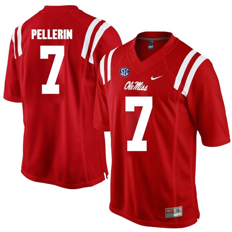 Ole Miss Rebels #7 Jason Pellerin NCAA College Football Jersey Red