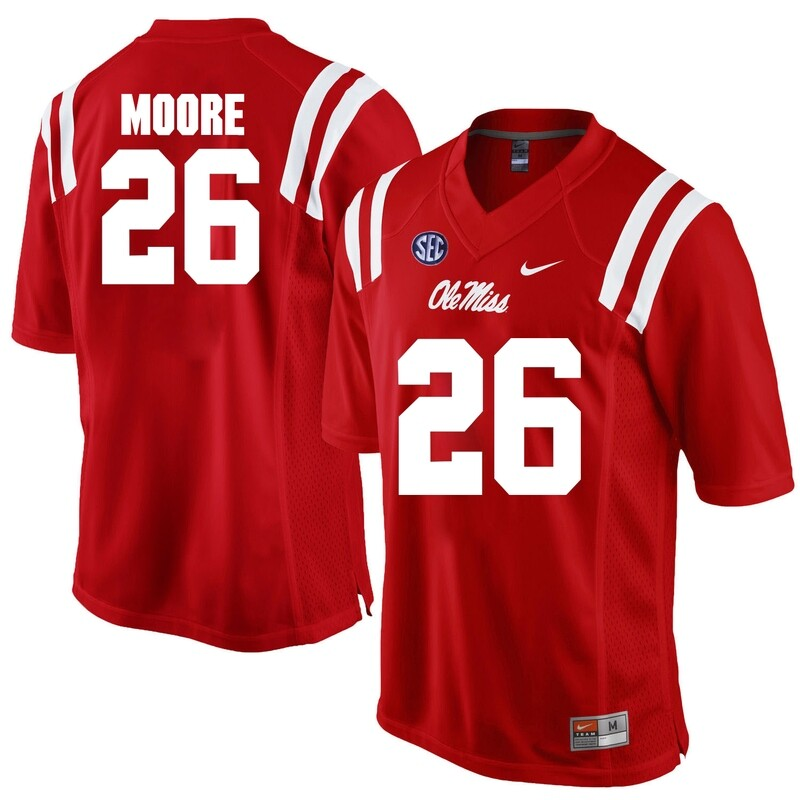 Ole Miss Rebels #26 C.J. Moore NCAA College Football Jersey Red