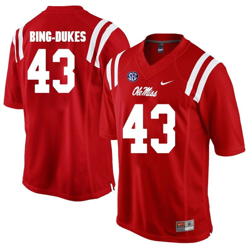 Ole Miss Rebels #43 Detric Bing Dukes College Football Jersey Red