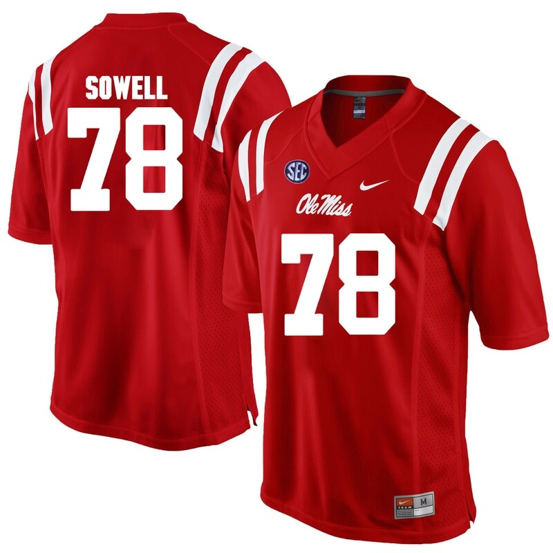 Ole Miss Rebels #78 Bradley Sowell NCAA College Football Jersey Red