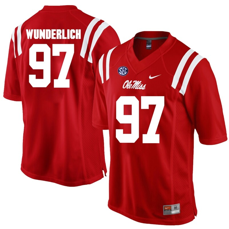 Ole Miss Rebels #97 Gary Wunderlich NCAA College Football Jersey Red
