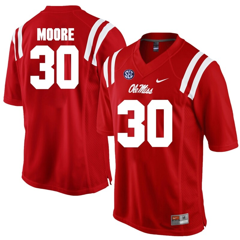 Ole Miss Rebels #30 A.J. Moore NCAA College Football Jersey Red