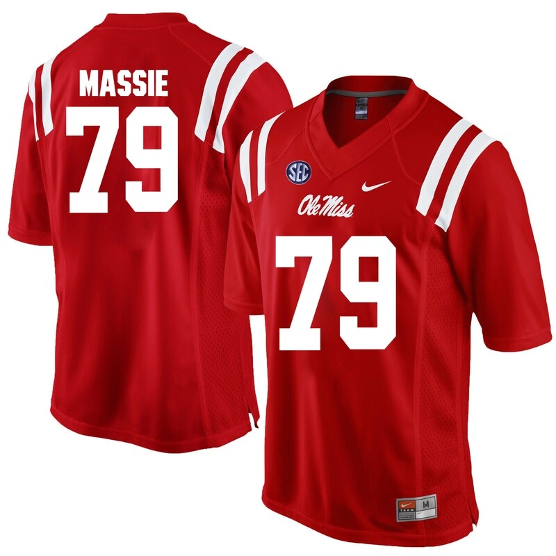 Ole Miss Rebels #79 Bobby Massie NCAA College Football Jersey Red