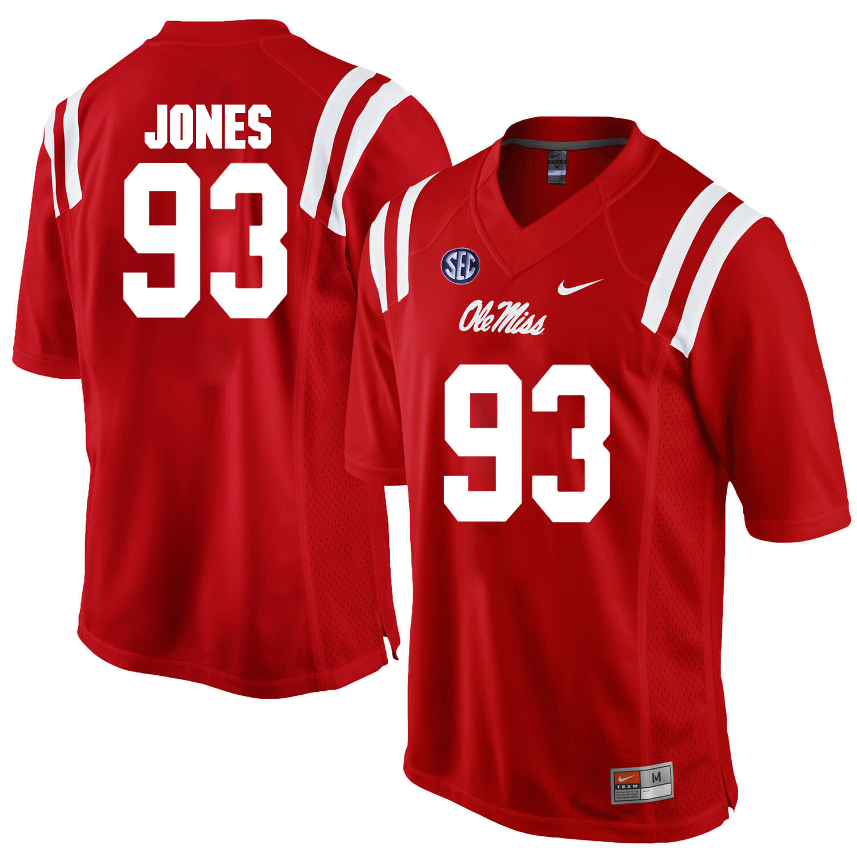 Ole Miss Rebels #93 D.J. Jones NCAA College Football Jersey Red