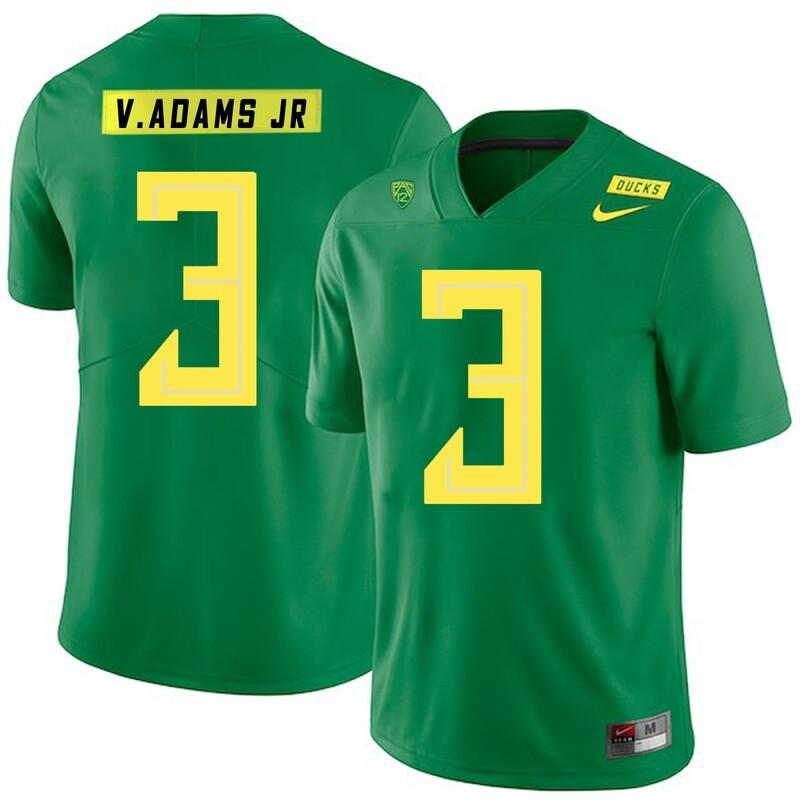 Oregon Ducks #3 Vernon Adams Jr NCAA College Football Jersey Green