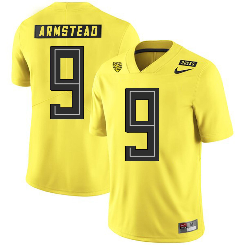 Oregon Ducks #9 Arik Armstead College Football Jersey Yellow