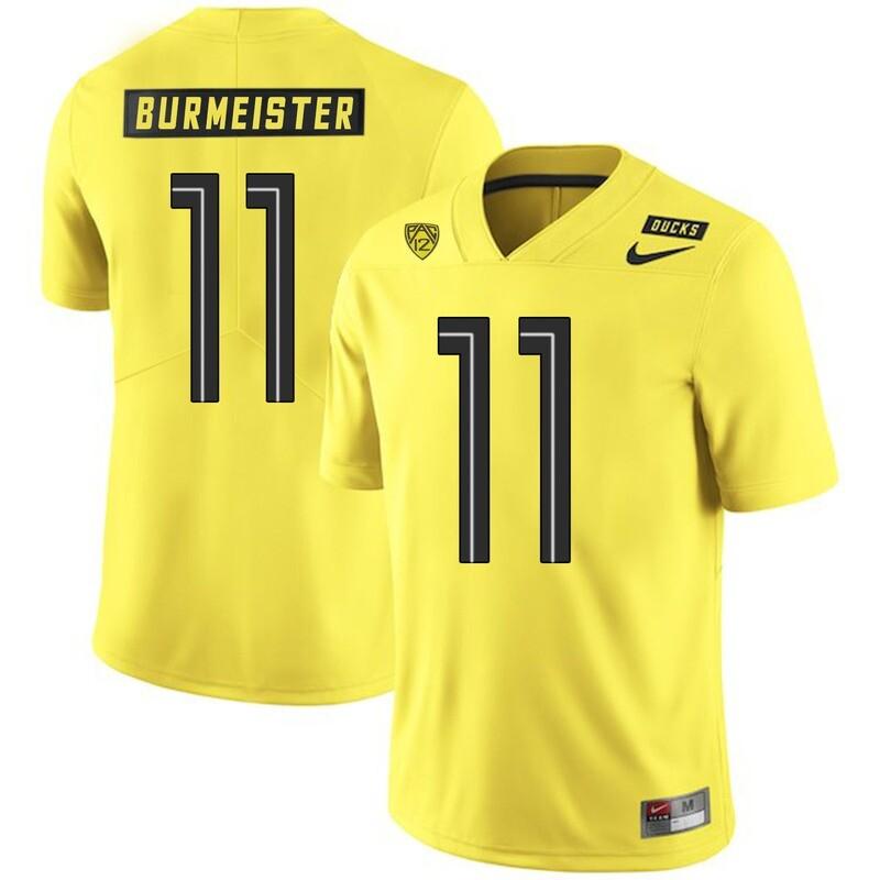 Oregon Ducks #11 Braxton Burmeister College Football Jersey Yellow