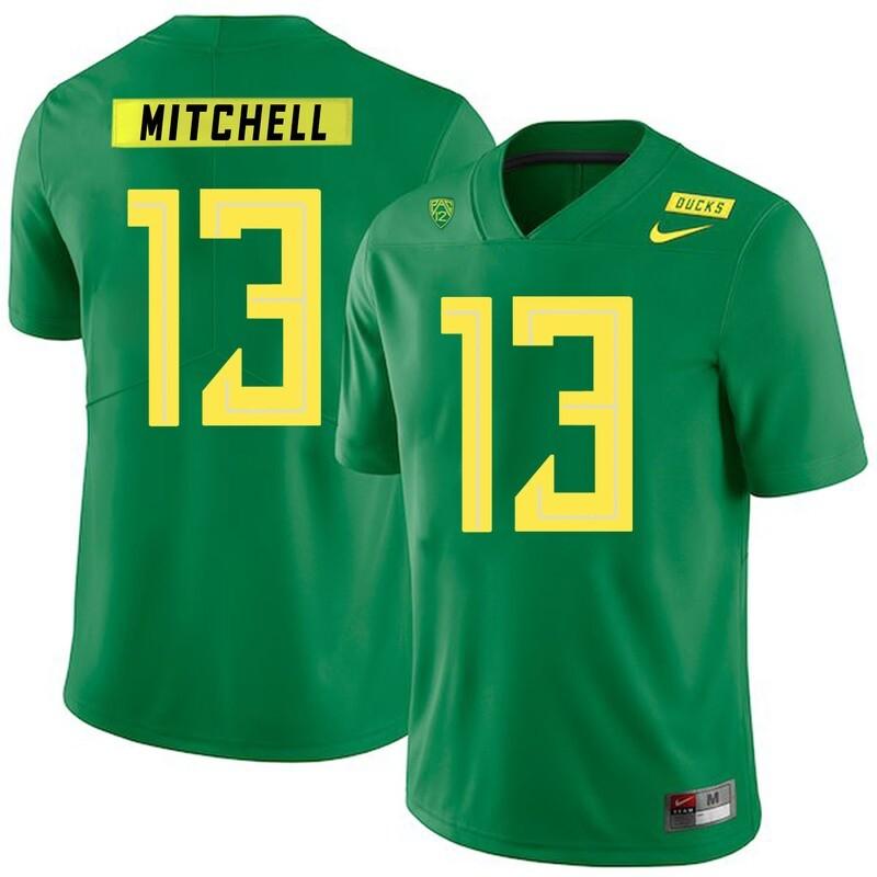 Oregon Ducks #13 Dillon Mitchell NCAA College Football Jersey Green