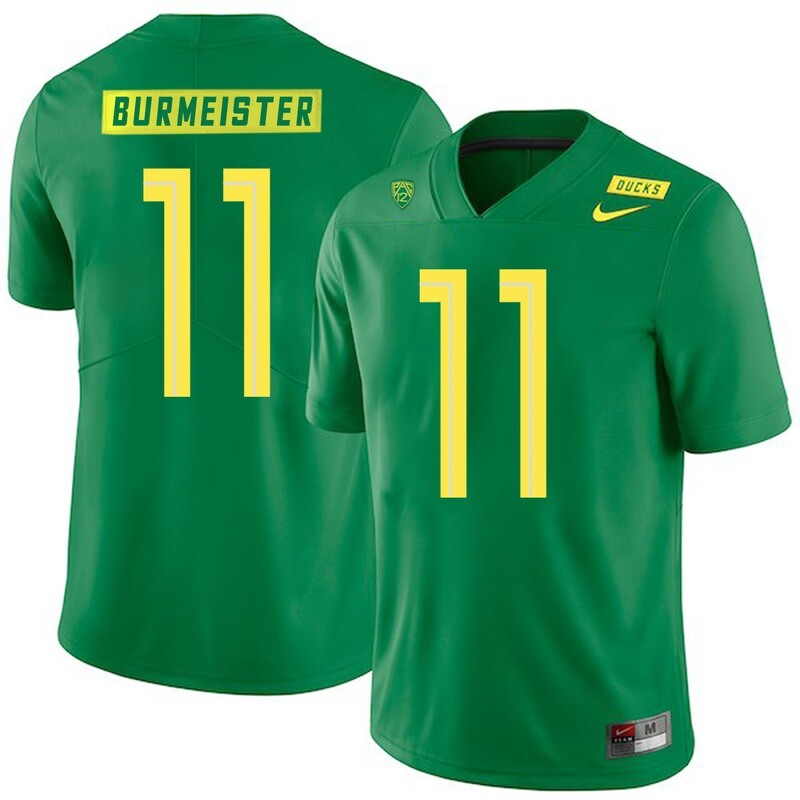 Oregon Ducks #11 Braxton Burmeister College Football Jersey Green