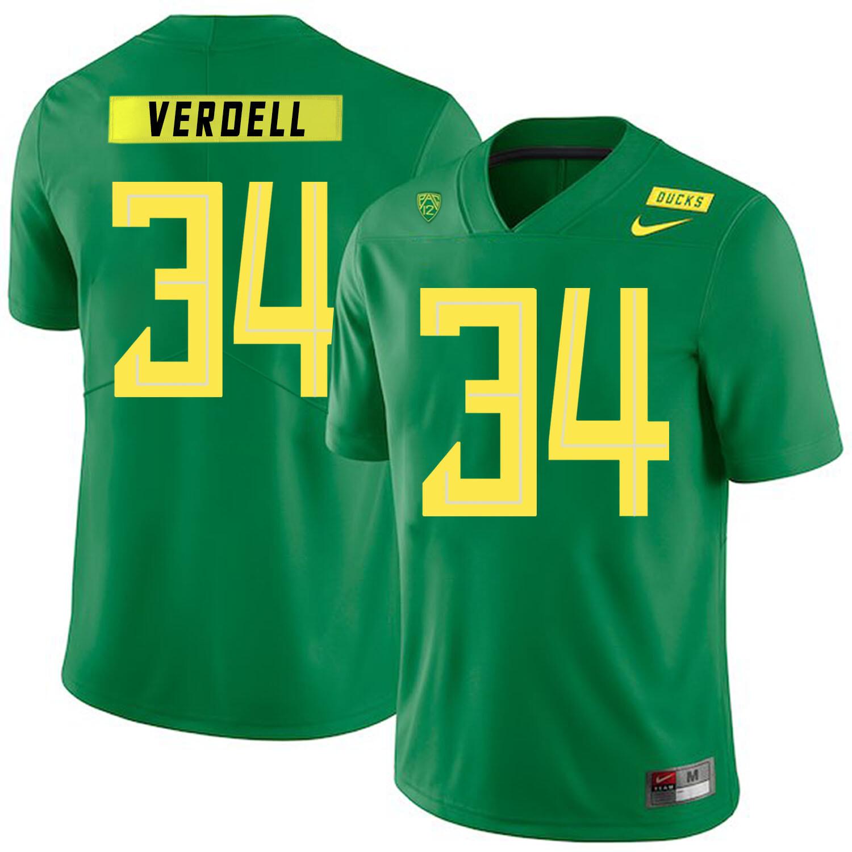Oregon Ducks #34 CJ Verdell College Football Jersey Green