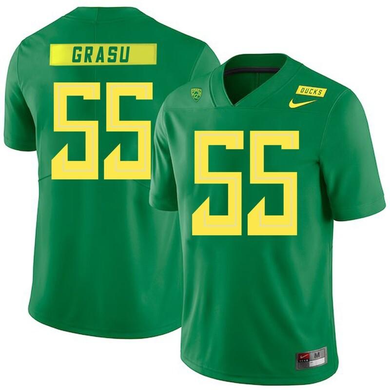 Oregon Ducks #55 Hroniss Grasu NCAA College Football Jersey Green