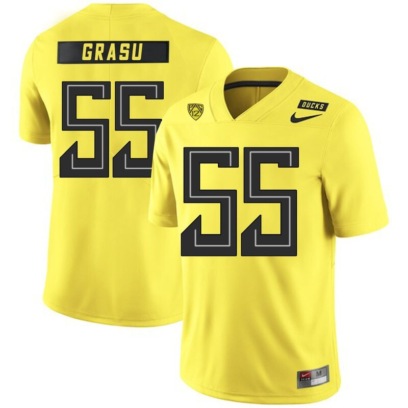 Oregon Ducks #55 Hroniss Grasu NCAA College Football Jersey Yellow