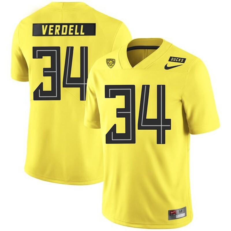 Oregon Ducks #34 CJ Verdell College Football Jersey Yellow
