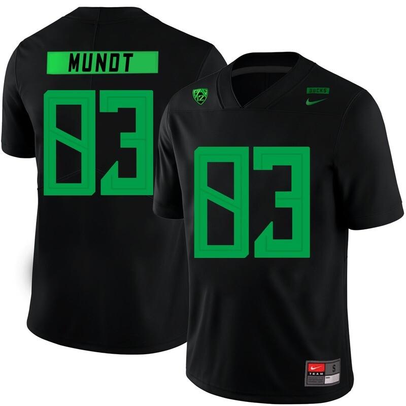 Oregon Ducks #83 Johnny Mundt NCAA College Football Jersey Black