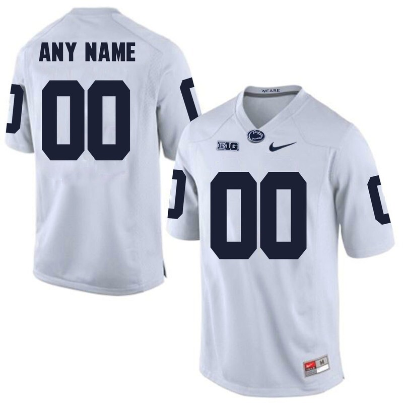 Penn State Nittany Lions Custom Name Number Football Jersey White Big Patch