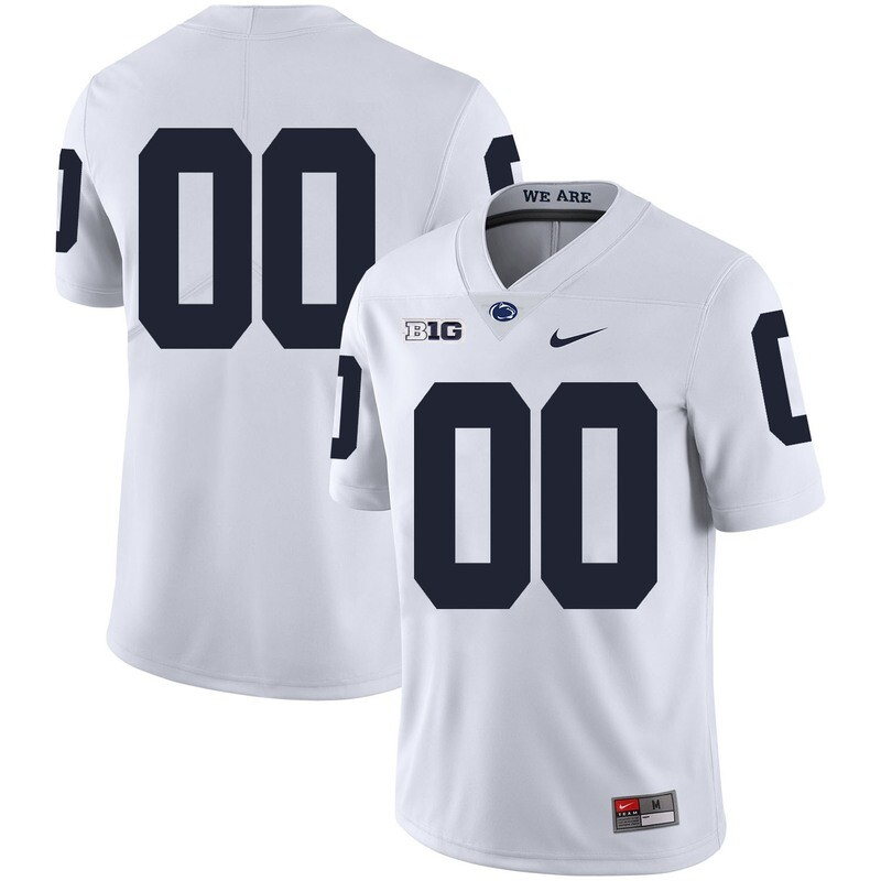 Penn State Nittany Lions Custom Name Number Football Jersey White With Patch