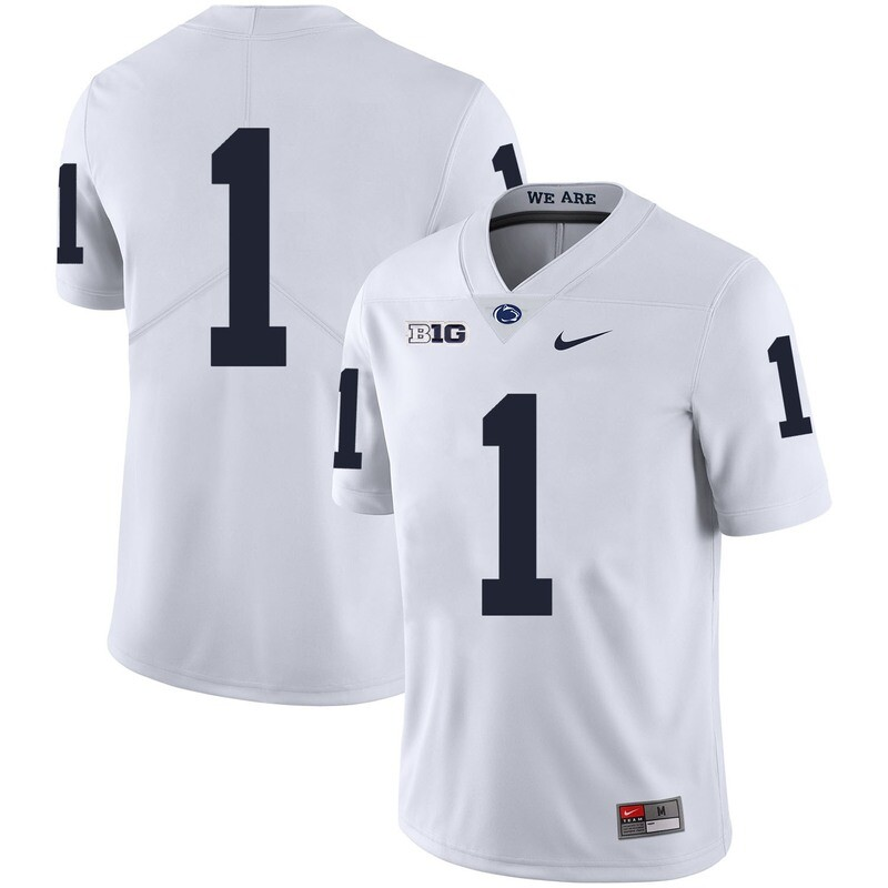 Penn State Nittany Lions #1 No Name College Football Jersey White