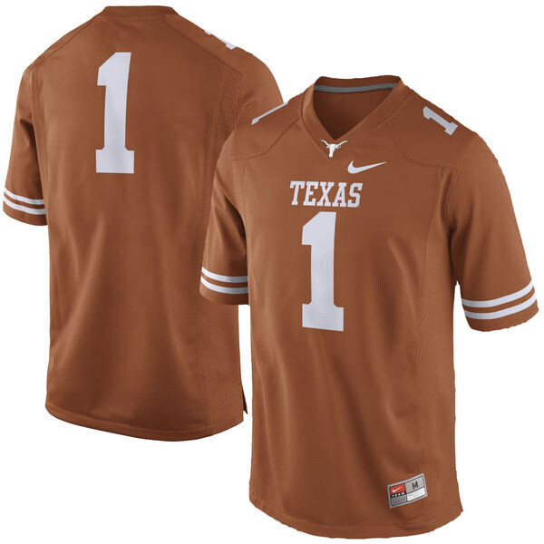 Texas Longhorns #1 No Name College Football Jersey Dark Orange