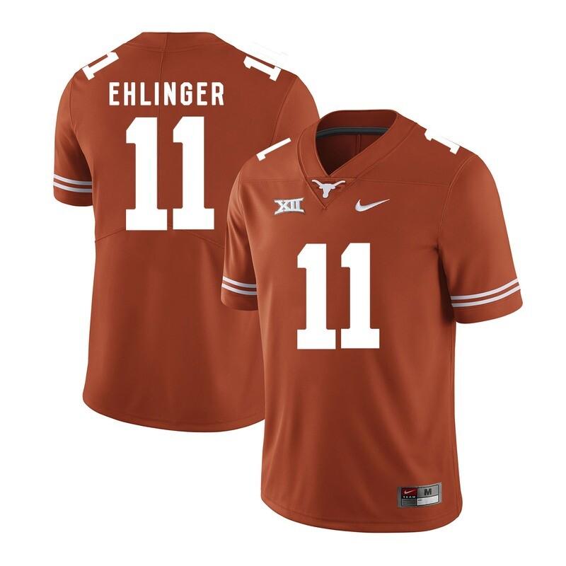 Texas Longhorns #11 Sam Ehlinger College Football Jersey Orange XII Patch