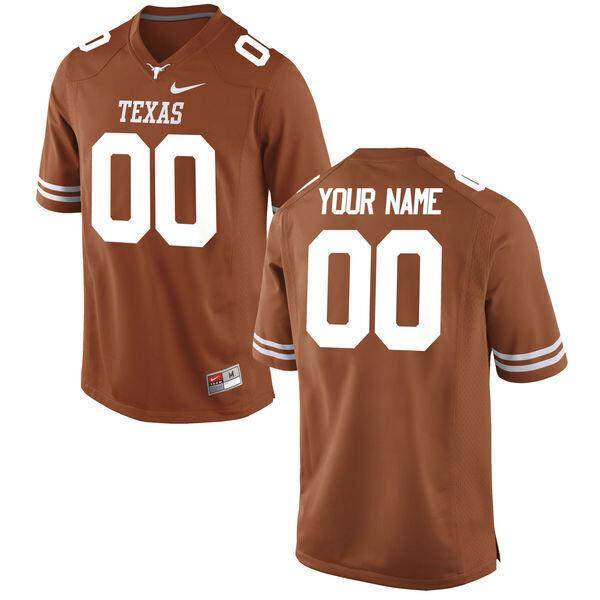 Texas Longhorns Custom Name Number College Football Jersey Orange