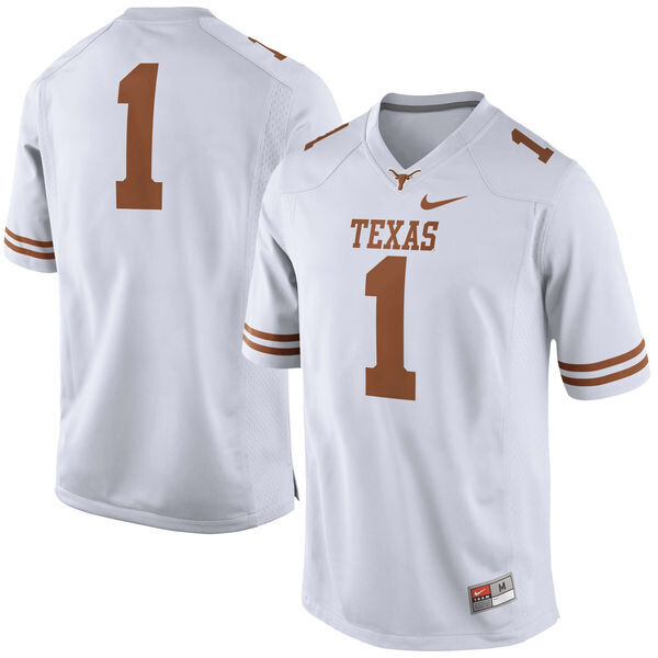 Texas Longhorns #1 No Name College Football Jersey White