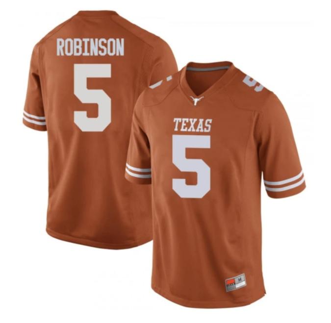 Texas Longhorns #5 Bijan Robinson College Football Jersey Orange